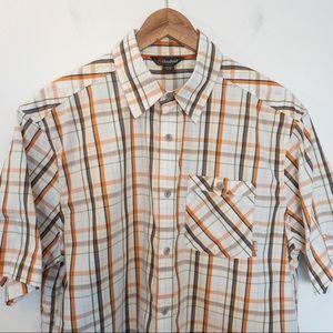 Cloudveil Men Size L Shirt Plaid Short Sleeves
